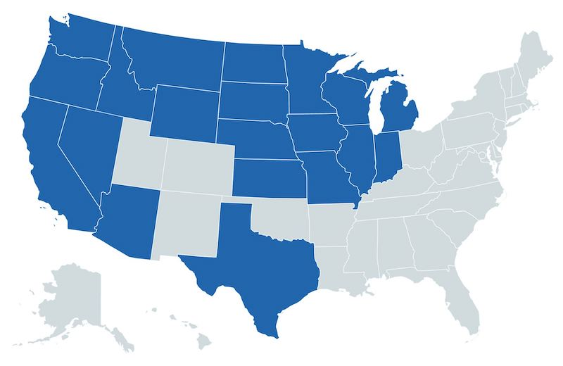 us map showing states giig licensed in